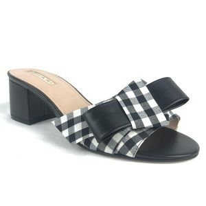 Tahari Slide Sandals Black Plaid Bow Block Heel